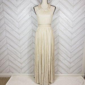 LULUS Cream Open Back Cut Out Halter Maxi Dress